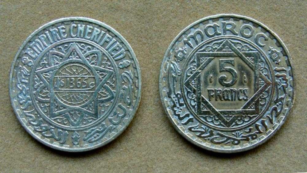 Moneda de 5 francos Marruecos 1946