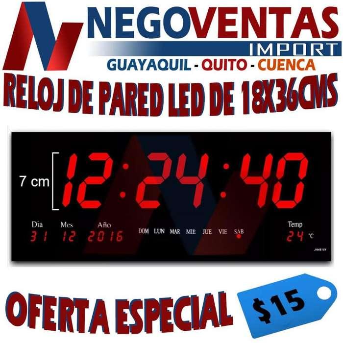 RELOJ DE PARED LED DE 18X36CMS PRECIO OFERTA 15.00