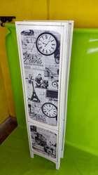 Biombo Antiguo Madera Bronce Vintage