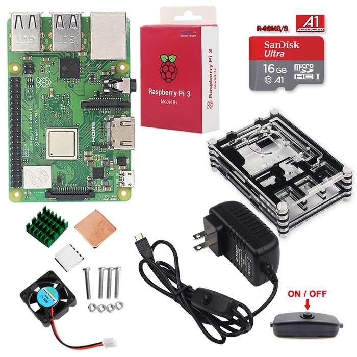 Kit Raspberry Pi 3b Plus accesorios(sd 16gb, Caja Acrilico)