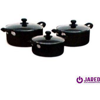 Juego de Ollas Finezza FZ-1609T antiadherente 9 piezas - Negro Electrodomesticos jared