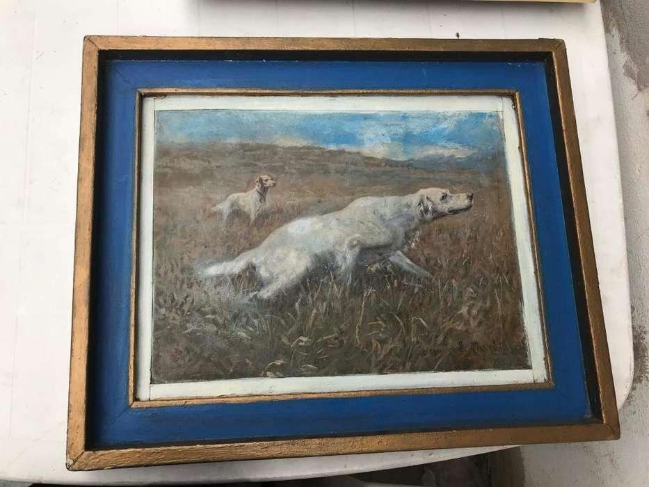 cuadro oleo setter ingles naturaleza perros de caza