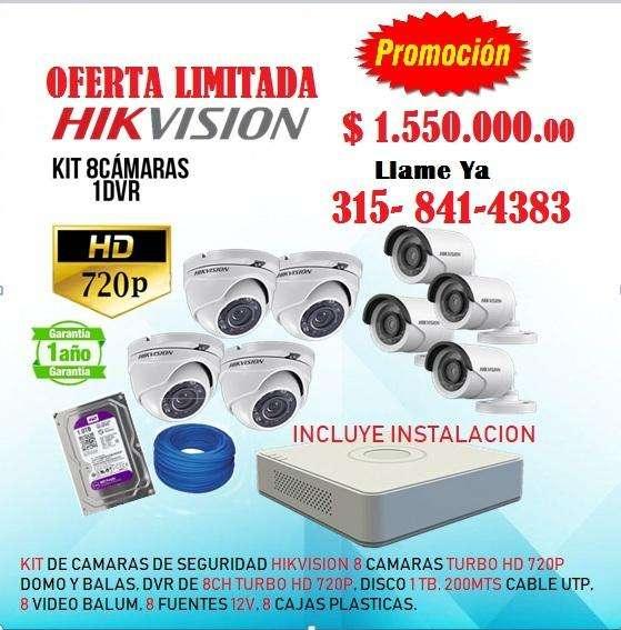 Kit de camaras de seguridad hikvision 8 cámaras resolución 720p a un super precio