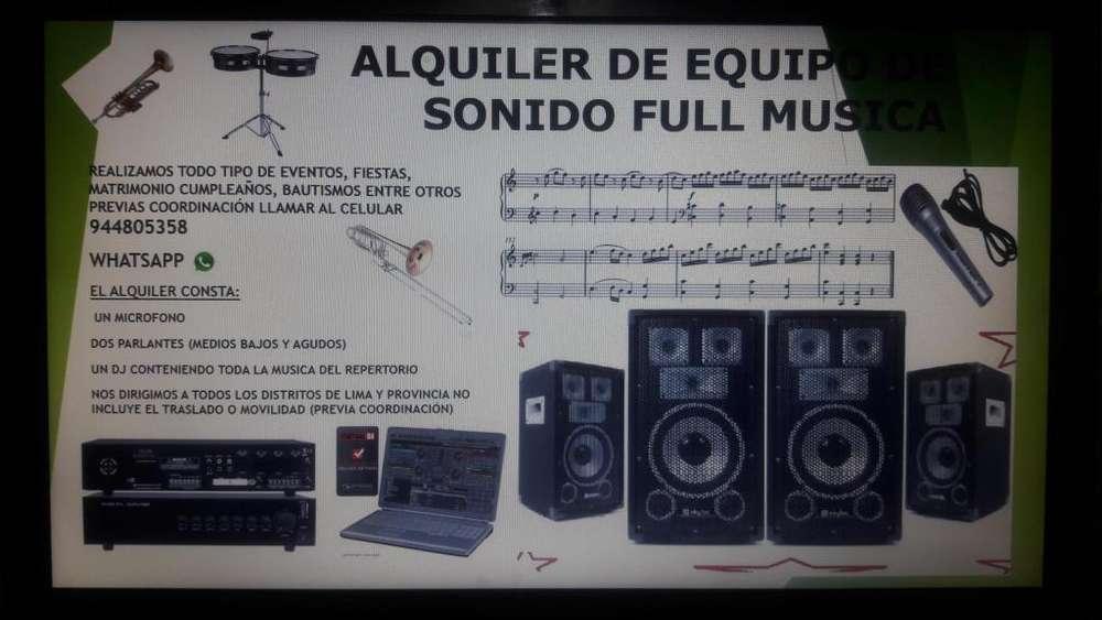 Alquiler de Equipo de Sonido Cel 944805358