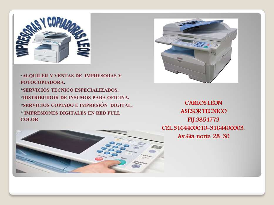 Alquiler y ventas de fotocopiadoras.