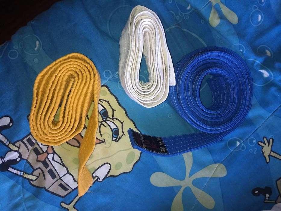 Cinturones Taekwondo amarillo celeste blanco c/u