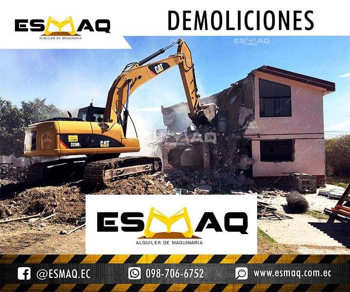 Alquiler de Maquinaria para Demoliciones, Martillo Hidraulico, Derrocamiento de casas