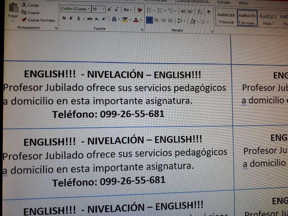 Profesor de Ingles a Domicilio.