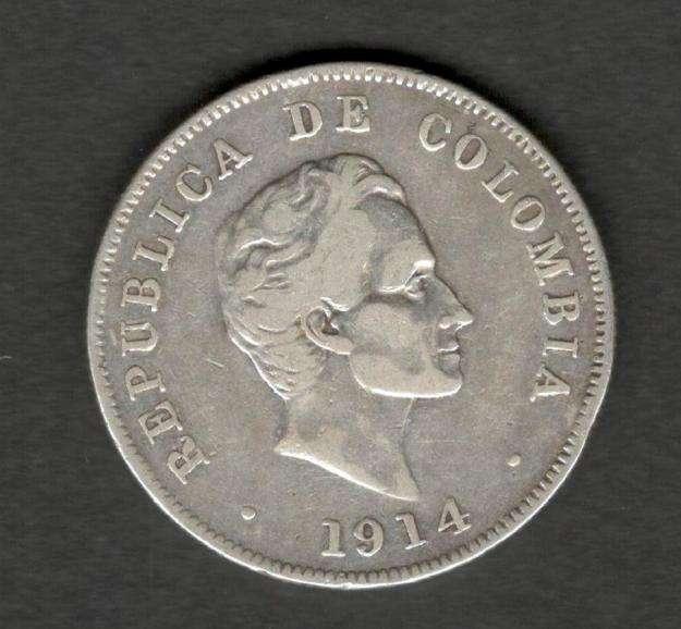 Colombia 1914 Silver 50 centavos Bogota Very Fine VF Plata