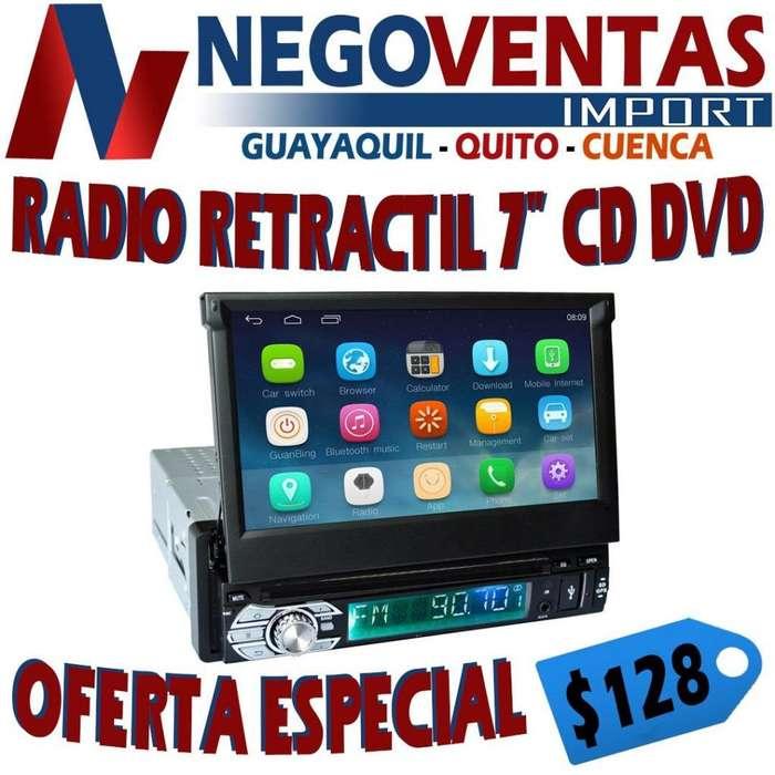 RADIO RETRÁCTIL PARA CARRO CD DVD USB SD FM AUX PANTALLA 7 PULGADAS OPCIÓN PARA CÁMARA RETRO