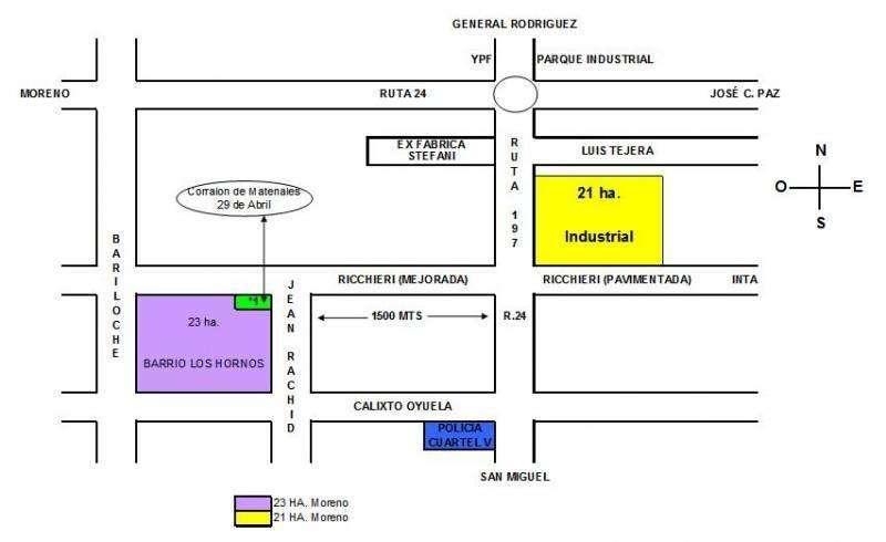 Venta de fracción industrial en Moreno - Ruta 24 (ex 197) y Ricchieri - 10 hectáreas