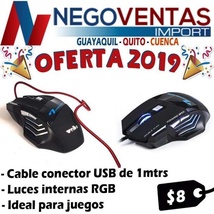 MOUSE PARA LAPTOPS, COMPUTADORA CON CONEXION USB 1MTS CON ILUMINACION LED IDEAL PARA PLAY Y JUEGO