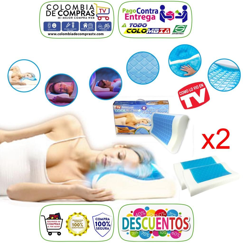 Combo X2 Almohadas De Gel TV Cool Pillow Restform Funda Refrescante Nuevas, Originales, Garantizad