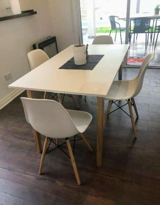 Mesa Nordica 4 Sillas Eames Diseño
