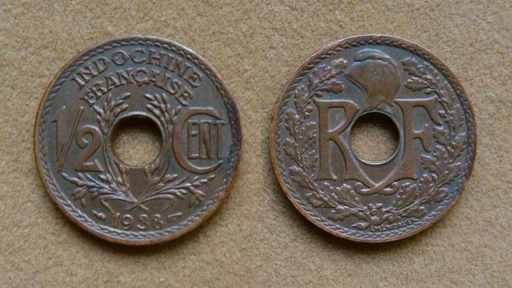 Moneda de 1/2 cent de Indochina Francesa 1938
