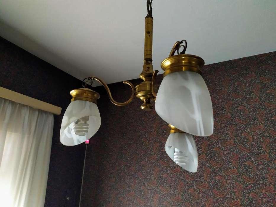 lampara colgante de bronce de 3 luces