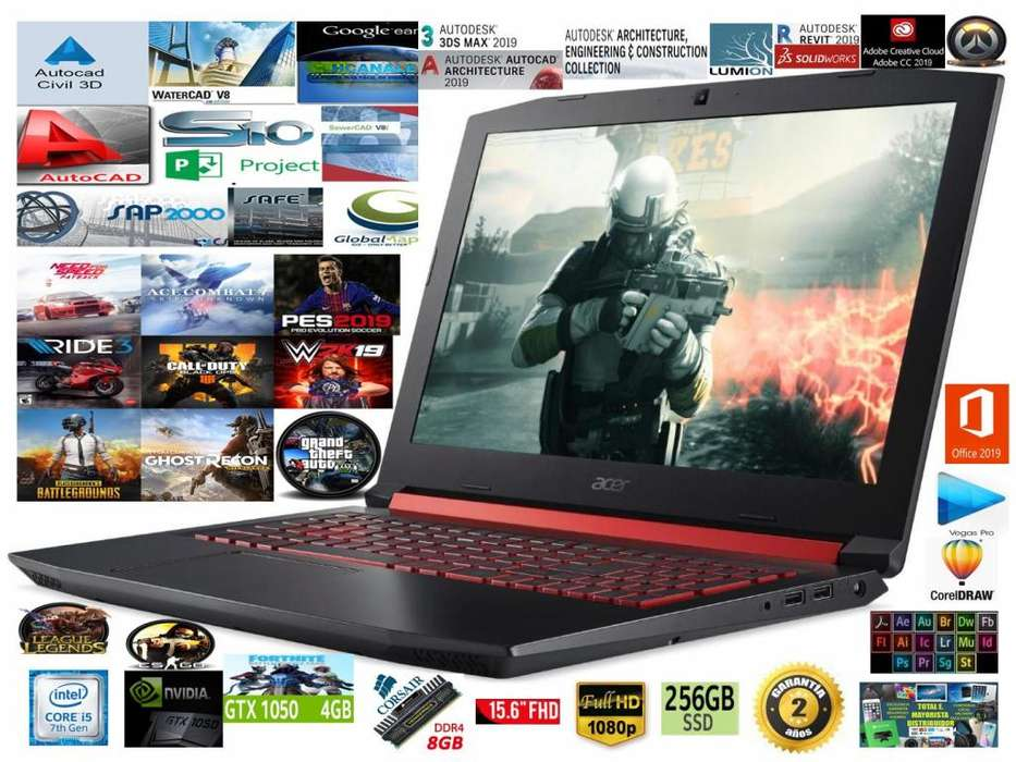 LAPTOP GAMER ACER NITRO I5 7 GENERACION HQ 2.50 3.80 GHZ TURBO 8 CPUS 8 RAM DDR4 NVIDIA GTX 1050 4.1 GB DDR5 256 SSD
