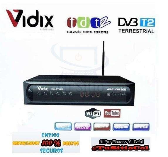 Envio Gratis Decodificador TDT Dvt2 con Wifi y Cable Hdmi Vidix