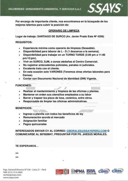 OPERARIOS DE LIMPIEZA VARONES - JOCKEY PLAZA