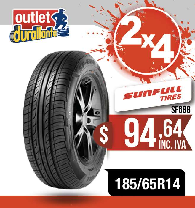 <strong>llanta</strong>S 185/65R14 SUNFULL SF688 TOYOTA PRIUS C YARIS SKODA FABIA VOLKSWAGEN POLO