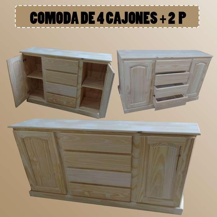 COMODA DE 4 CAJONES 2 PUERTAS