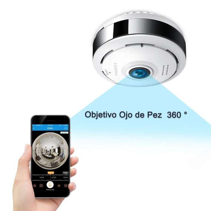 Camara Vigilancia 360 Panoramica. Alta Resolucion alarma. sonido. Nocturna. 360 grados. wifi. conecta al celular