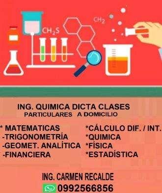 ING QUIMICA DICTA CLASES PARTICULARES A DOMICILIO.