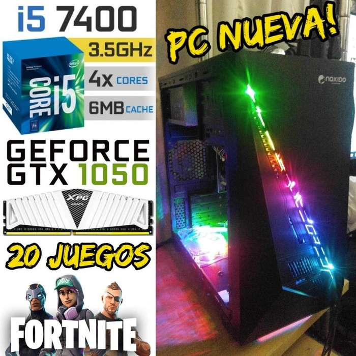 Pc Gamer Core I5 7400 Gtx 1050 8gb. 1 Tera Naxido Rgb Juegos