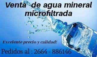 Venta de agua mineral microfiltrada y purificada