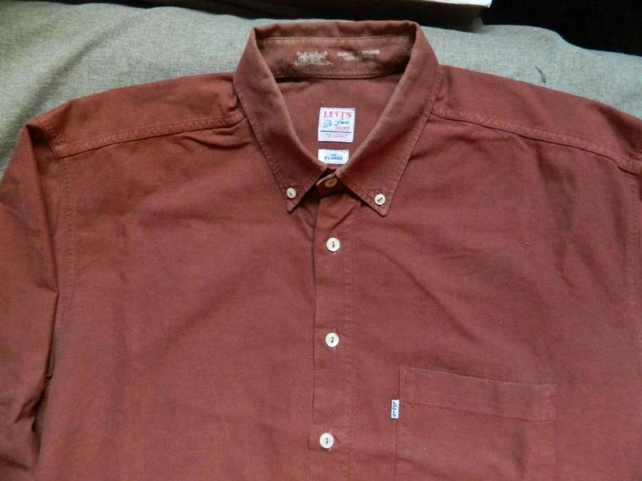 <strong>camisa</strong> Levi's tela gruesa Talle 42 Large color rojo ladrillo