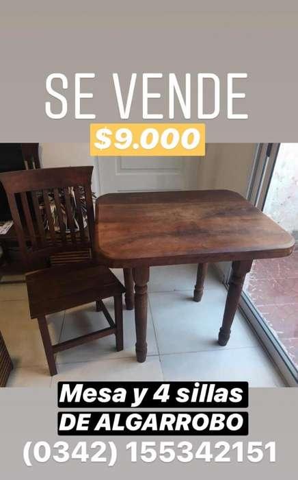Juego de Mesa Y <strong>silla</strong>s de Algarrobo