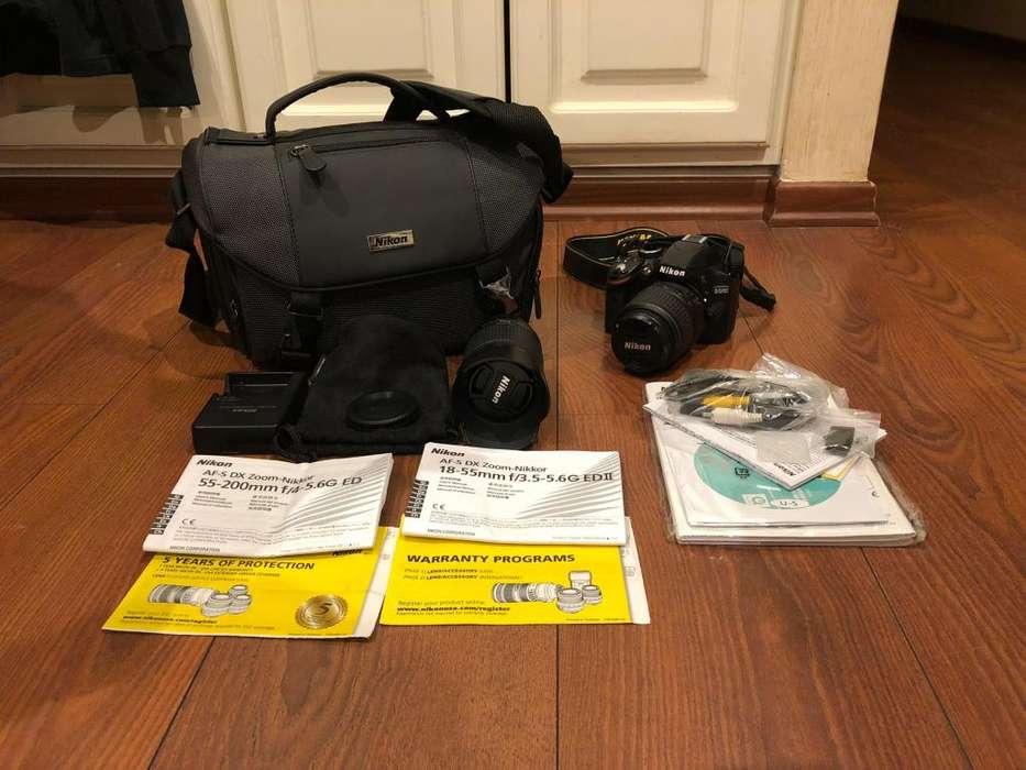 Nikon D3200 con lentes 1855 y 55200, maletas y accesorios