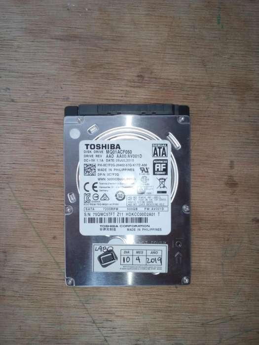 DISCO DURO TOSHIBA 500 GB PARA PORTÁTIL (USADO)
