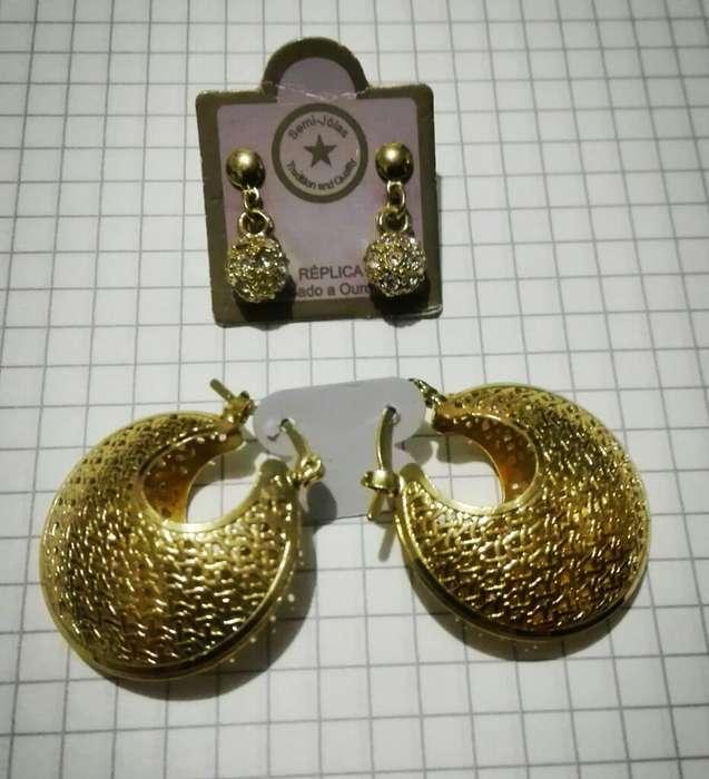Lindos Aretes Chapados en Oro 18 K