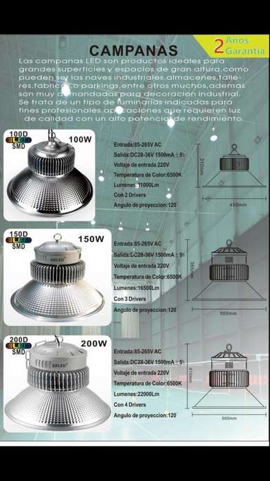 Reflector Campana Led 100watts hasta 200watts