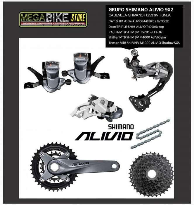GRUPO <strong>bicicleta</strong> MONTAÑA SHIMANO ALIVIO M4000 9V DOBLE 18 VELOCIDADES