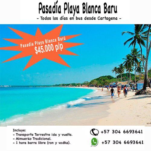 Tour Pasadía a Playa Blanca Isla Barú 45.000