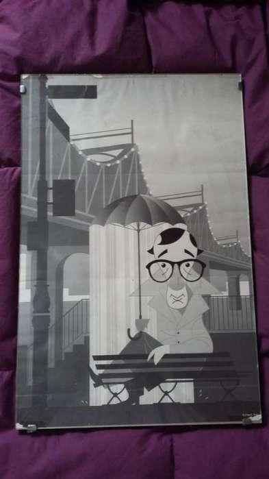 Poster de Woody Allen en bastidor con vidrio