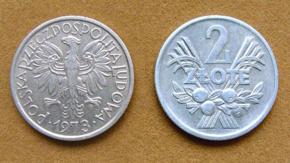 Moneda de 2 zloty Polonia año 1973