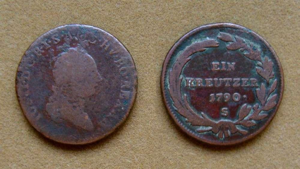 Moneda de 1 kreuzer Imperio AustroHúngaro 1790