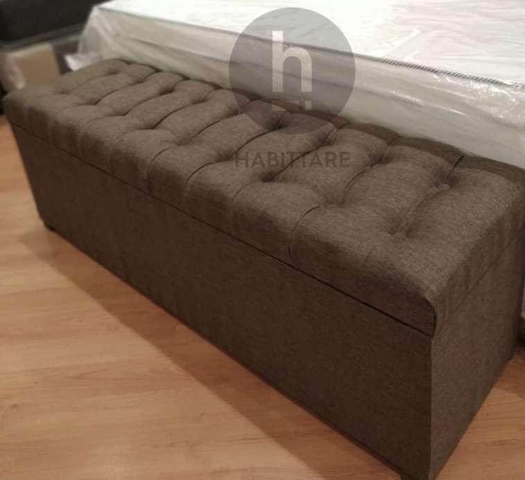 Baulera Ecocuer Pie Cama <strong>dormitorio</strong> Capitone 140 cm