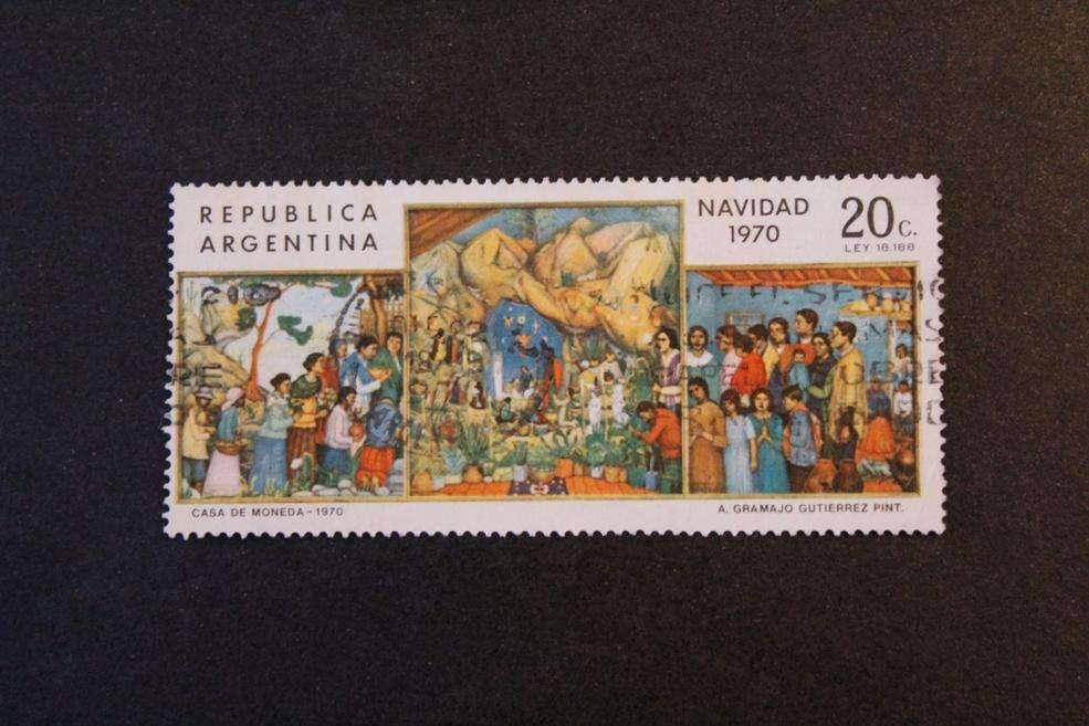 ESTAMPILLA ARGENTINA, 1970, NAVIDAD, PINTURAS GRAMAJO GUTIERREZ, USADA