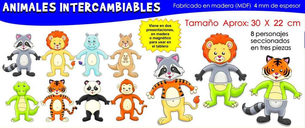 Animales Intercambiables madera MDF