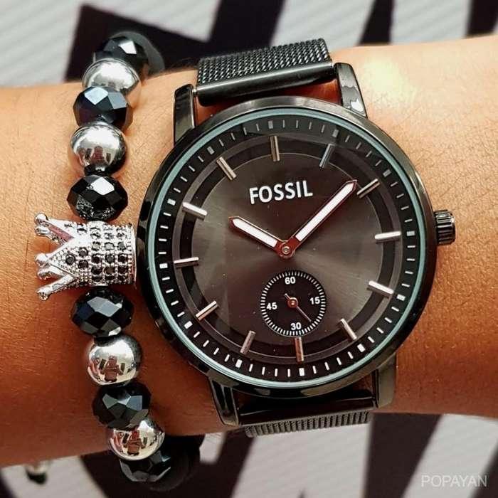 u) Fossil pulso malla color negro 80 mujer
