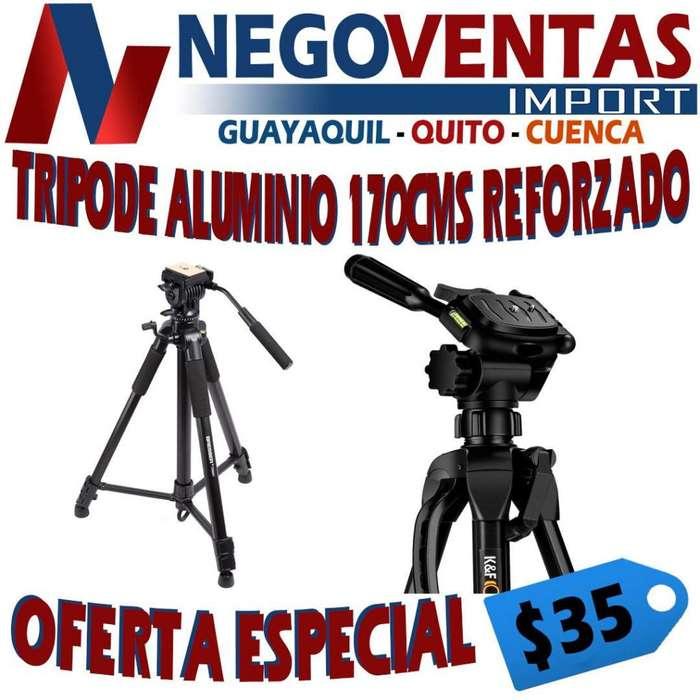 TRIPODE ALUMINIO PROFECIONAL 165 CMS REFORZADO PARA CELULARES , CAMARA , ETC