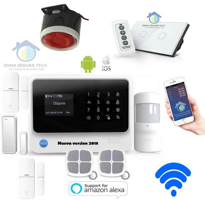 Kit de Seguridad Inalambrico WIFI GSM GPRS G90B Plus con soporte de DOmotica Interruptor doble