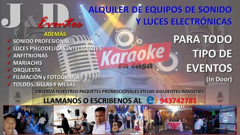 Alquiler Equipos de Sonido, Luces Y Dj (OFERTA AGOSTO S/. 149.00)
