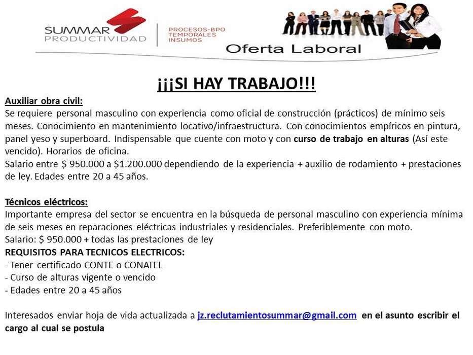 OFERTA LABORAL TECNICOS ELECTRICOS Y OFICIAL DE OBRA