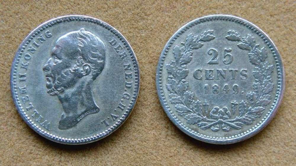 Moneda de 25 cent de plata Holanda 1849