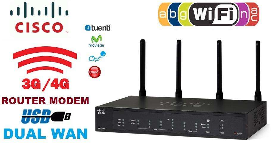 ROUTER WIRELESS AC CISCO SMB RV340W WAN 4 ANTENAS 2.7Gbps 4 PUERTOS GIGABIT USB 3G/4G